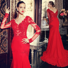 Robe de soiree Red Evening Dresses Charming Mermaid V Neck Applique Beaded Sweep Train Formal Gwons Real Image(China (Mainland))