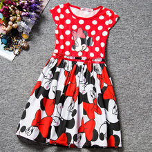 2016 New Summer Dress Minnie Mouse Dress Girls Clothes Printing Dot Dress Girl Fashion Princess Dress