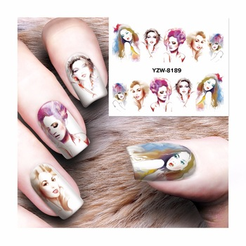 WUF 1 Sheet Flower Nail Sticker Water Decals Nail Art Water Transfer Stickers Nails Tools For Nails 8189