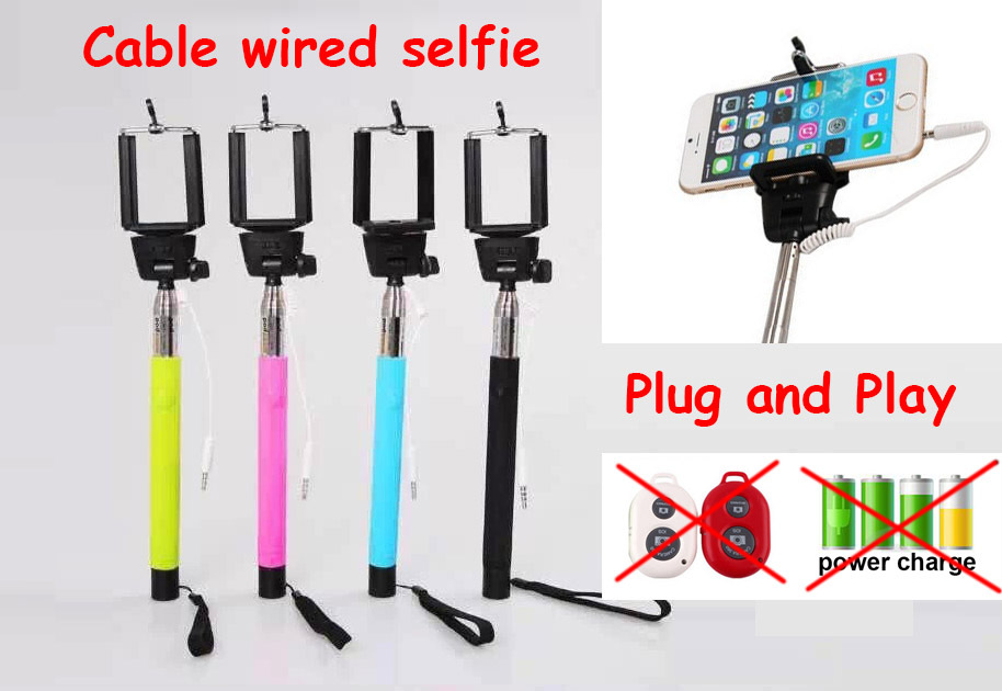 Free shipping Extendable Handheld Monopod Audio cable wired Selfie Stick take photos for IOS Android smart phone(China (Mainland))