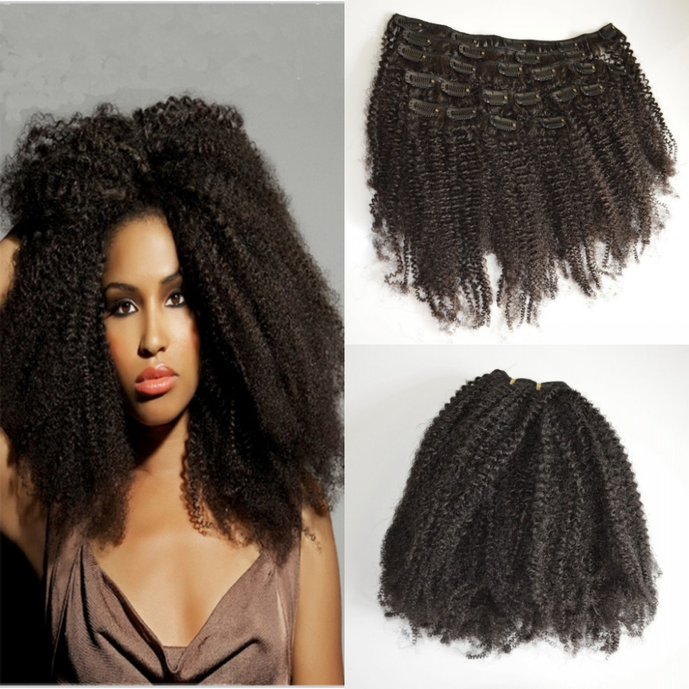 2016 New Arrival 120g Double Weft Clip in Human Hair Extensions Afro kinky curly Clip in Remy Human Hair Full Head<br><br>Aliexpress