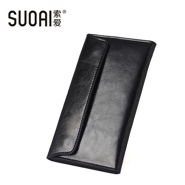 Suoai 100% натуральная кожа бумажник женщины высокое качество длинные кошелек еще ...