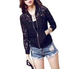 Women Lace Zipper Thin Jacket Long Sleeve Crochet Coat Cardigan Tops Outwear TQ