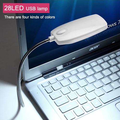 1Pcs New Arrival Ultra Bright Flexible LED USB Book light reading lamp 28LEDs 4 Colors for Laptop Notebook PC Computer(China (Mainland))