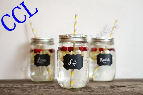 Free shipping 36pieces Fancy Mason Jar Wedding Chalkboard Labels , Wine Glass Drink Cup Label diy Reception Decoration idea(China (Mainland))