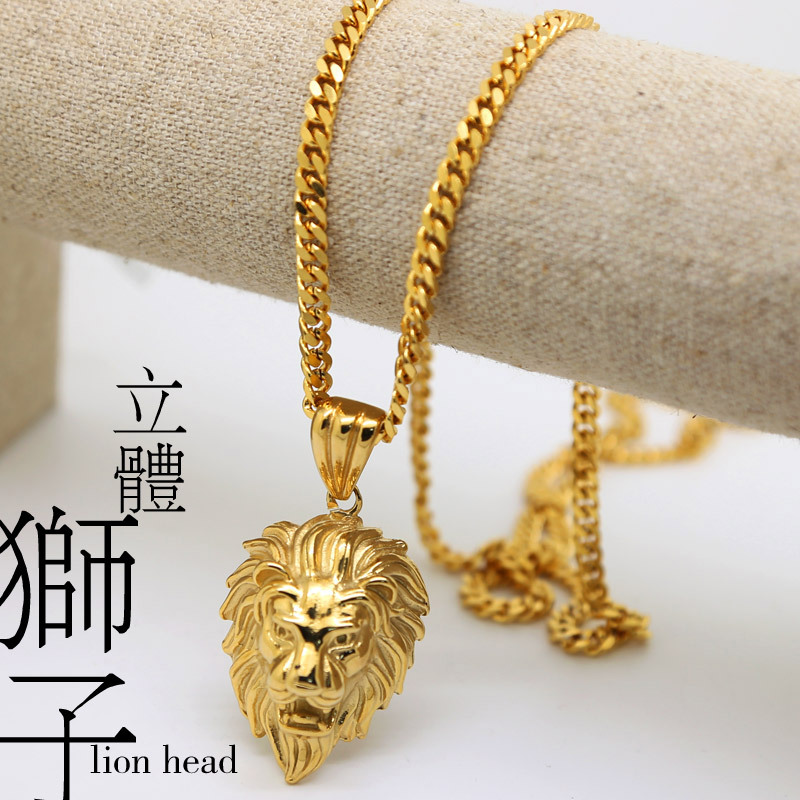 100% 18K Gold Plated Lion Head pendants High Quality Fashion Hiphop franco long necklaces gold Chain for men bijouterie new 2015()