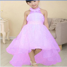 2016 Flower Girl Dress For Wedding Party New Style Halter Princess Dresses Formal Clothes Pearl Waist Dress  Tail