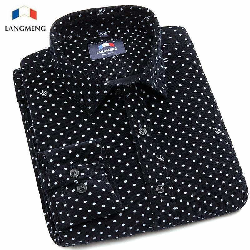 British Style Long Sleeve Corduroy Dress Shirt Slim Fit Men Blouse 2016 Luxury Brand Polka Dot Casual Shirt Male Black Chemise(China (Mainland))