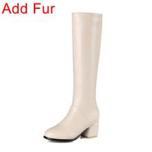 BONJOMARISA Mùa Đông 2019 Plus Size 32-45 Mũi Tròn Nữ Thanh Lịch Đầu Gối Cao Lông Giày Dây Kéo Med Chun Gót giày N(China)