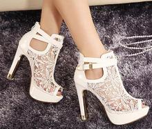 2016 New Lace Women Platform Pumps Sandals White Mesh Black High Heels Peep Toe Shoes(China (Mainland))