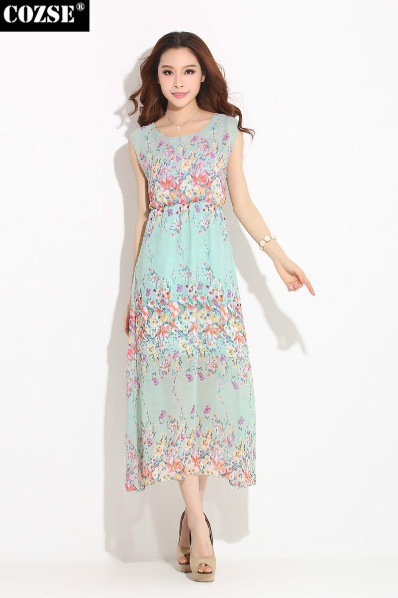 2015 New Summer Korean Style Beach Print Women Dresses
