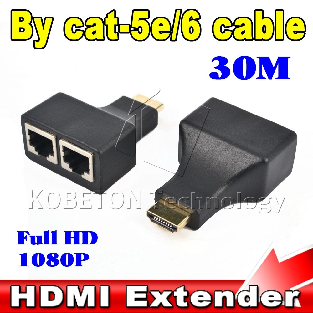 2016 1 set HDMI To Dual Port RJ45 Network Cable Extender by Cat 5e / 6 Cable Up to 30Meters Full HD 1080P D32 for HDTV HDPC STB(China (Mainland))