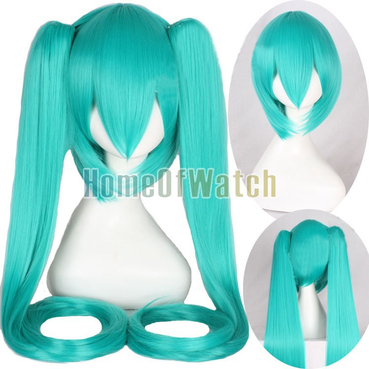 New style 100cm Light Blue 40 inch extra Long Straight hair Wig anime Cosplay Wigs Hatsune Miku clip with 2 ponytials(China (Mainland))