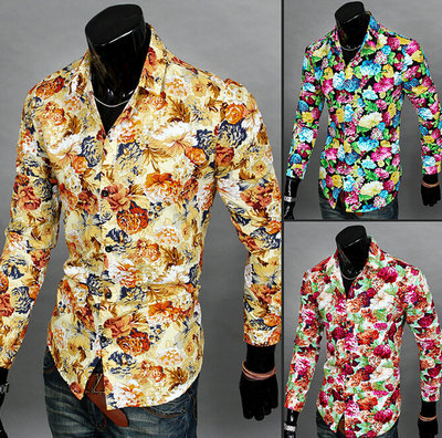2016 Brand Men Shirts Fashion Casual Mens Blouse Full Shirt Print Floral Design Clothes Blusinhas Camisa Masculina - Foreign trade clothing 888 store