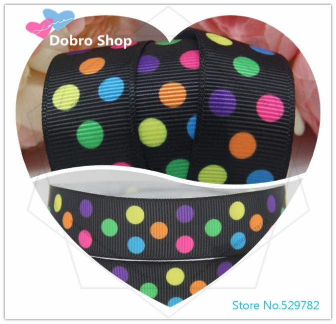 """Newest 7/8"""" 22MM Cute Oblique Colorful 3 Polka Dots Printed Grosgrain Ribbon,Tape for Sewing/Gift Supplier,100 Yards/lot(China (Mainland))"""