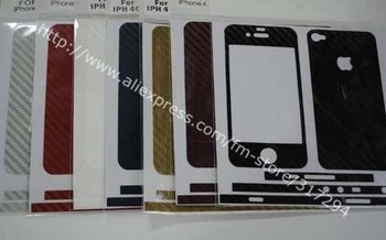 500pcs/lot Fashion Carbon Fiber Vinyl Skin Full Body Sticker for iphone 4 Guard Sticker for iphone4 High Quality Promotion Price