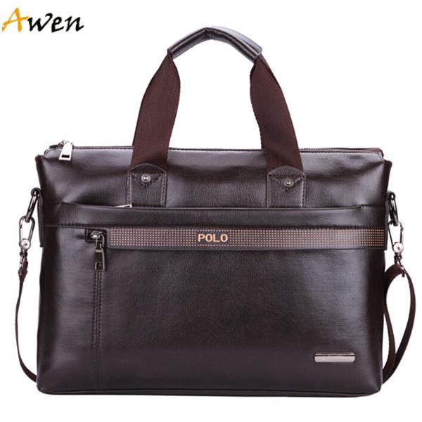Awen hot sell famous brand simple dot design mens leather handbag,vintage fashion men's bag for business,large size laptop bag(China (Mainland))