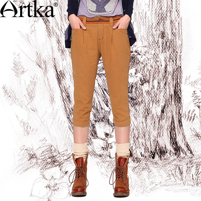 Artka Womens Spring All-match Delicate Ethnic Embroidery Skin-friendly Comfy Linen Cotton Cropped Pants KA10142CОдежда и ак�е��уары<br><br><br>Aliexpress