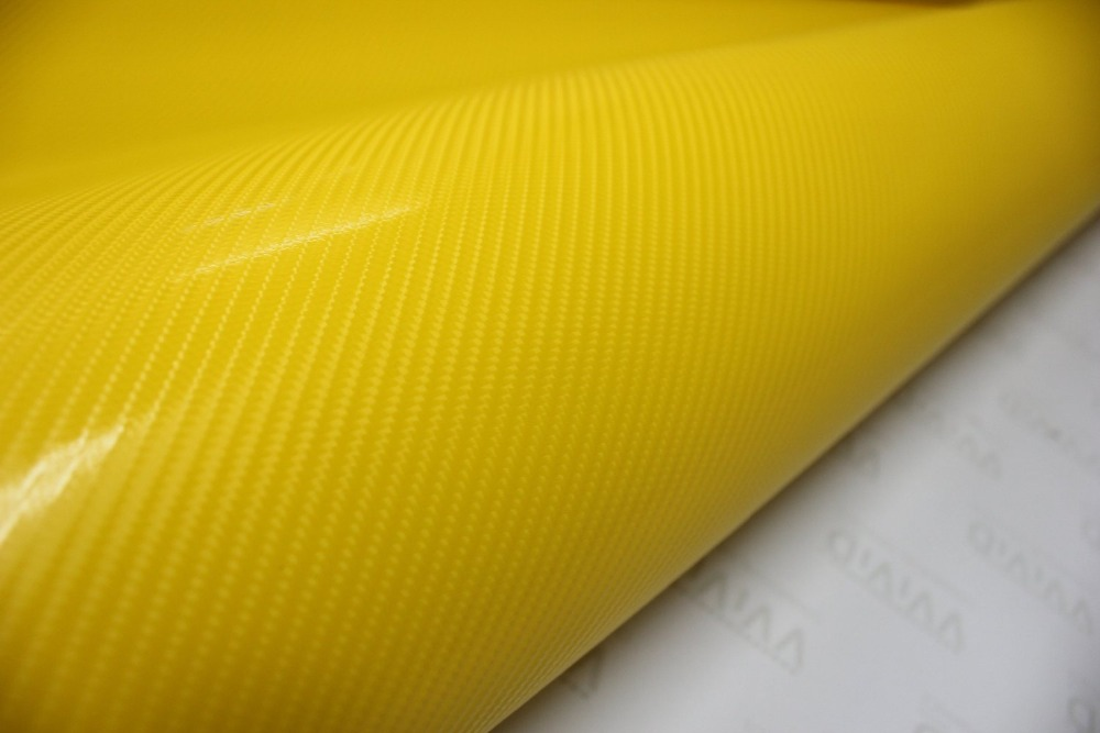 3D Yellow Carbon Fiber Vinyl Film Sheet Roll Wrap Bubble Free Air Release<br><br>Aliexpress