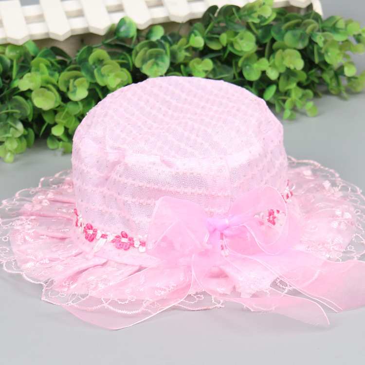 baby hat newborn baby hat sunproof girls caps lace summer wear(China (Mainland))