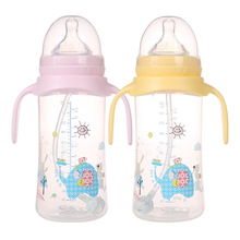1pcs breast nipple real sense of wide-mouth bottle Shank infant feeding bottle PP Colorful cartoon 330ml b#t52