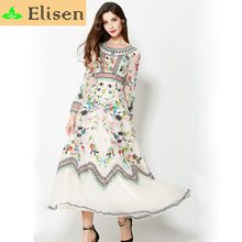 Runway Dress 2015 Winter Autumn European American Fashion Brand Exquisite Empire Embroidery Slim Vintage Long Dress Runway(China (Mainland))