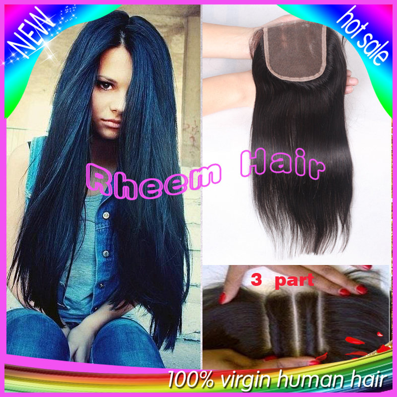 7A Brazilian Straight Closure 100% Virgin Human Hair Lace Closure Bleached Knots,Free Middle 3 Part Closures,Lace Front Closure(China (Mainland))