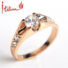 Italina 5mm CZ diamante Anéis de casamento Jóias para as mulheres Rosa Banhado A Ouro Anéis de Noivado Feminino Áustria Cristais Anel Bijoux