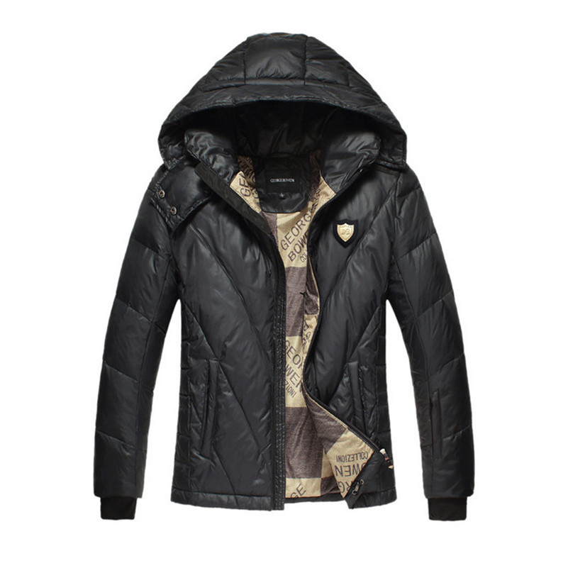 Men Hooded Coats Winter Warm White Duck Snow Down Jackets Brand Design Slim Fit Casual Outdoor Fashion Parkas F1201