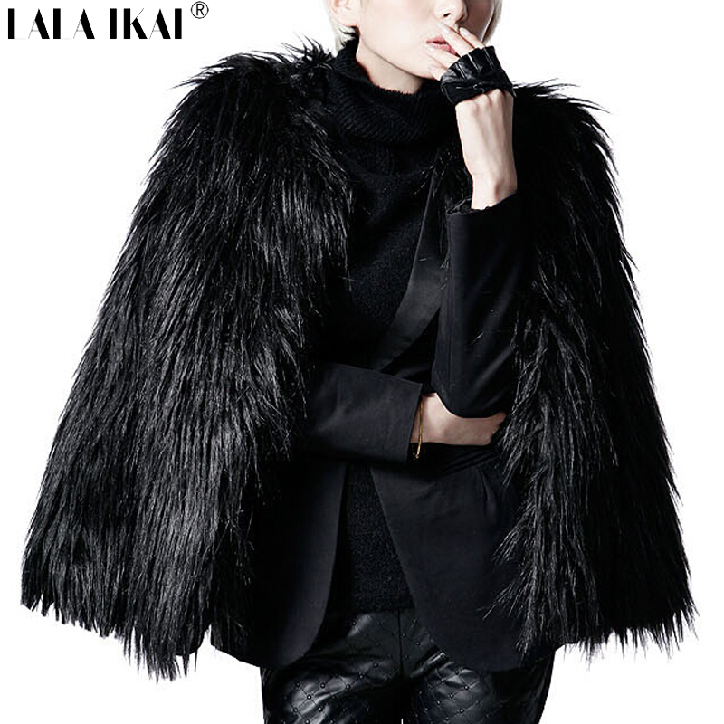 Women Winter Black Fur Coat Long Sleeve Faux Fur Outerwear Lady Short Style Fur Jacket SWQ0080-5(China (Mainland))