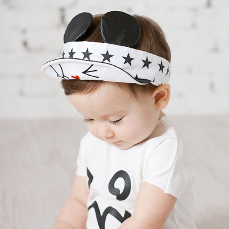 Stars Cartoon Children Visor Cap with Ears Cute Cotton Baby Hat Summer Adjustable Baby Cap for 1-3 Years(China (Mainland))