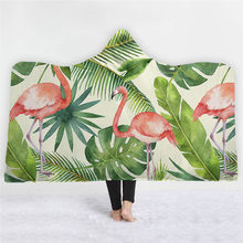 Tropical Plant Leaves Flamingo Hooded Blanket for Adults Kid Warm Wearable Fleece Woman Throw Blankets Microfiber Cloak(China)