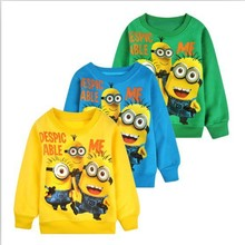 2015 New 1pcs baby boys girl Cartoon design round minion collar fleece children wear t-shirts Children's clothes ATX014(China (Mainland))