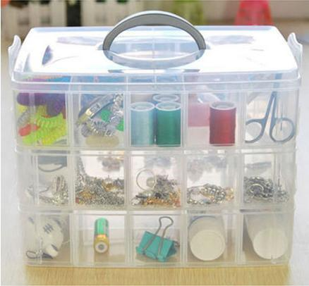 Free Shipping Adjustable 3 layer Compartment Clear Plastic Storage Box Jewelry Earring Tool Container(China (Mainland))