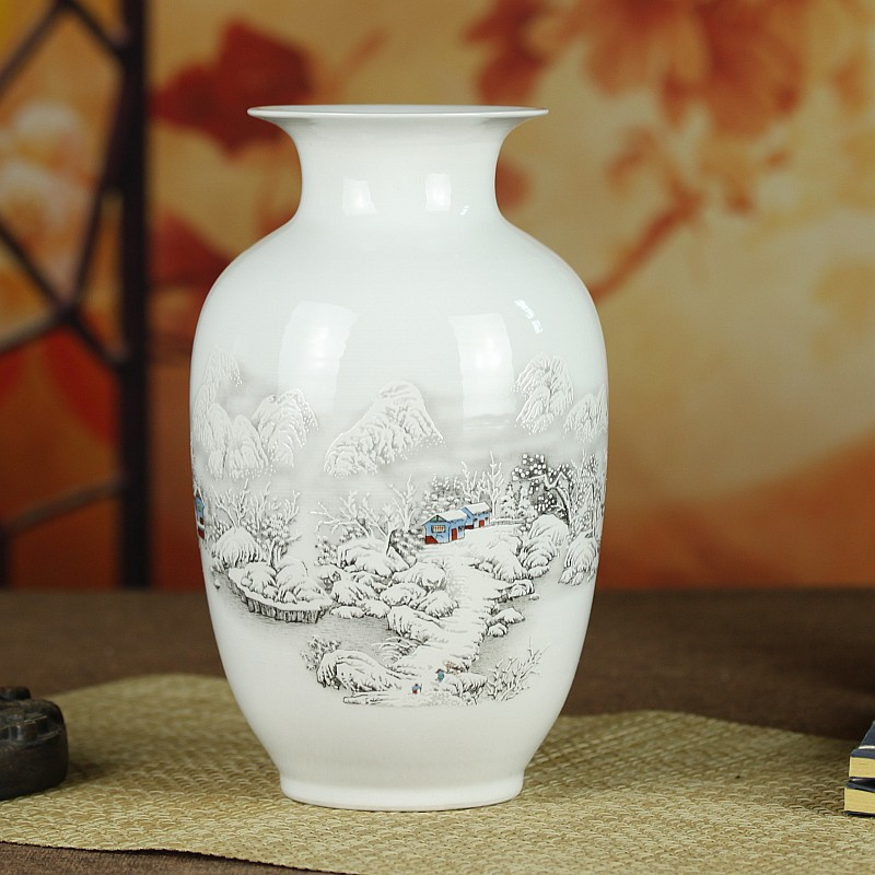 [Discount] Snow ceramic vase ornaments living room decorative home accessories Crafts(China (Mainland))