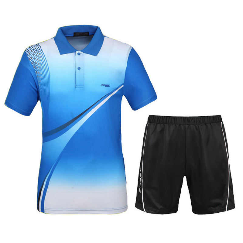 Men Tennis Shirts With Shorts 2016 New Sports Series Wicking Breathable Clothing Men's Badminton Table Tennis Suit(China (Mainland))