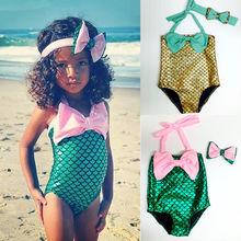2-7Y Children Kid Baby Girls Swim Wear Cute Bow Bright Little Mermaid One Pieces Costume Swimsuit Bathing Suit Swimwear New 2016