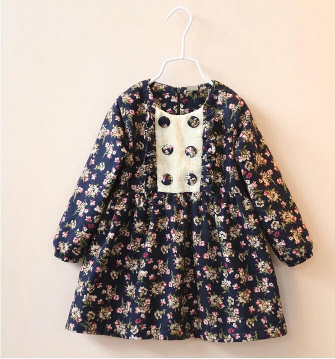 30733147 Wholesale 2015 New Winter Girls Dresses Follow Cashmere O-Neck Full Sleeve Girls Princess Dresses Children Clothes Lot<br>