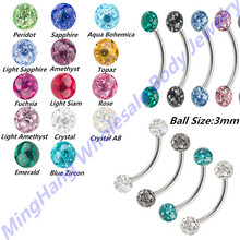 Buy 14pcs Double Epoxy Curved Ferido Crystal Gem Ball Steel Eyebrow Ring Bar Barbell Piercing Jewelry for $22.00 in AliExpress store