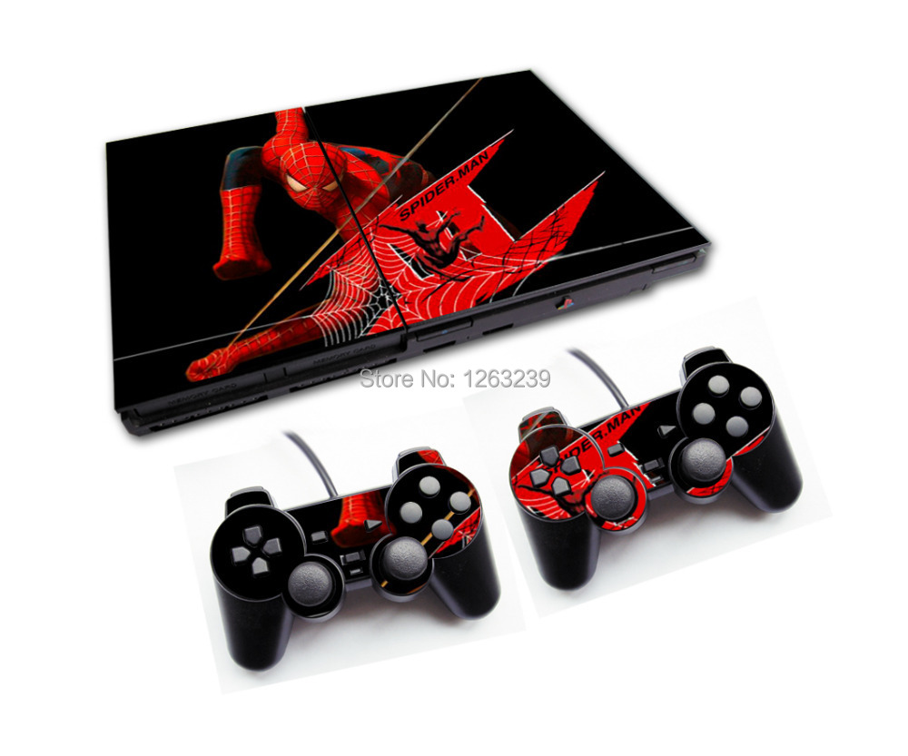Hot Sale Spider Man Style 18 Designs Game Decal Skin Stickers For PS2 Console With 2PCS Stickers For PS2 Controller(China (Mainland))