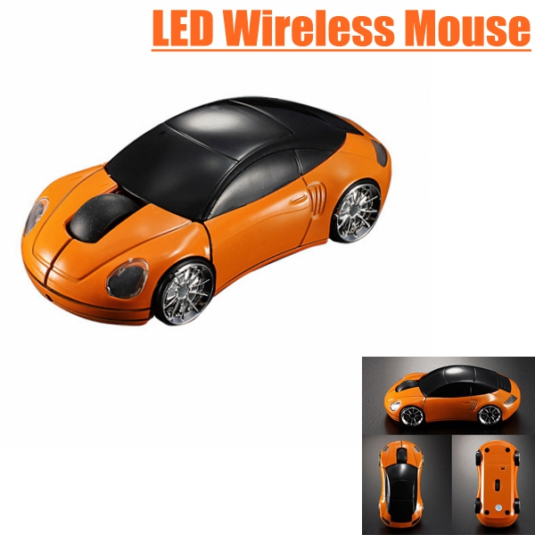 Orange Computer Laptop 1600DPI Mouse Optical Mice 3D 2.4G USB Wireless Car Shaped(China (Mainland))