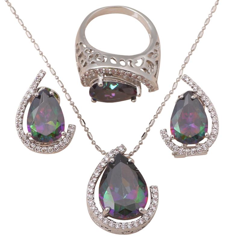 Luxury Design Pendants Earrings Ring Set silver 925 Inlay Mystic Topaz Zircon Fashion Jewelry set Sz #6.5 #7.5 #8.5 MS034A - Jos fan's store