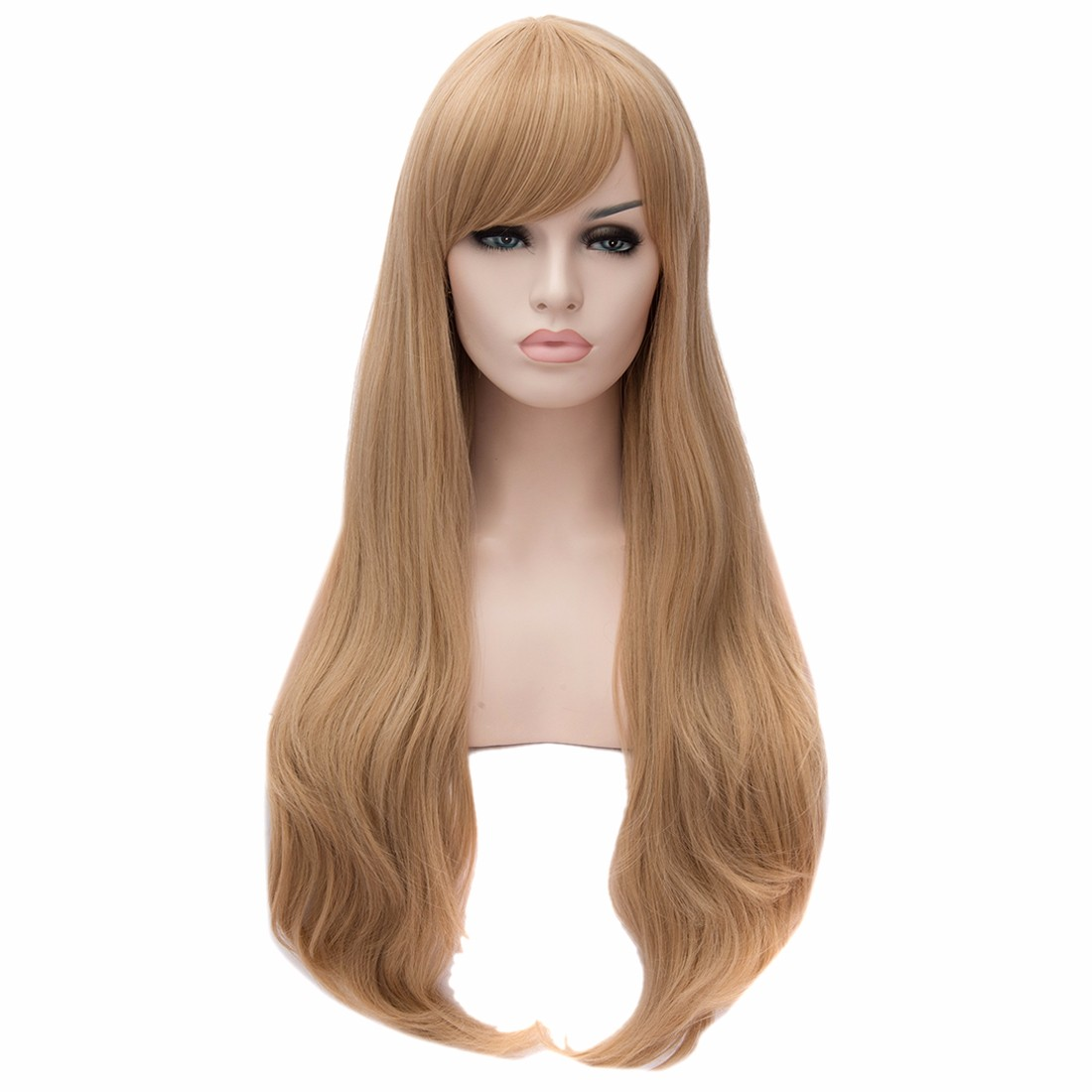 Light Golden Side Fringe Hairstyle Large Wavy Curly Women Long Party Wigs<br><br>Aliexpress
