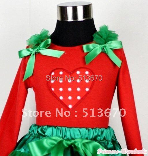 Christmas Red White Polka Dots Heart Print Red Long Sleeves Top with Kelly Green Ruffles & Kelly Green Bow MATW304(Hong Kong)