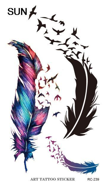 Sex Products Waterproof Temporary Tattoo Sticker The Wind Wind Blown Feathers Design Water Transfer Flash Fake Tattoo Sticker(China (Mainland))