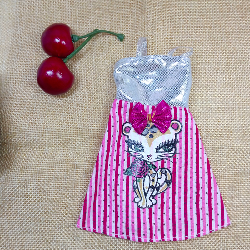 Silver Pink Attractive Cat Dolls Garments For Barbie Dollhouse Costume Social gathering Robe Summer time Brief Clothes Vestidos for Barbie Doll