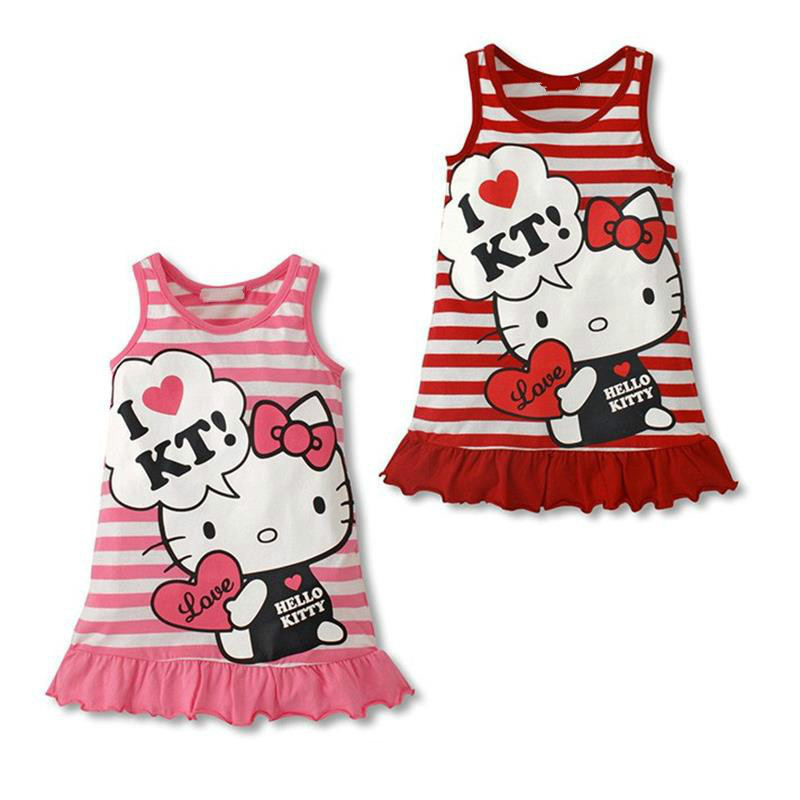 Baby dress summer baby girl clothes Hello Kitty kids children clothing cartoon birthday party chirstening dress vestidos infanti(China (Mainland))