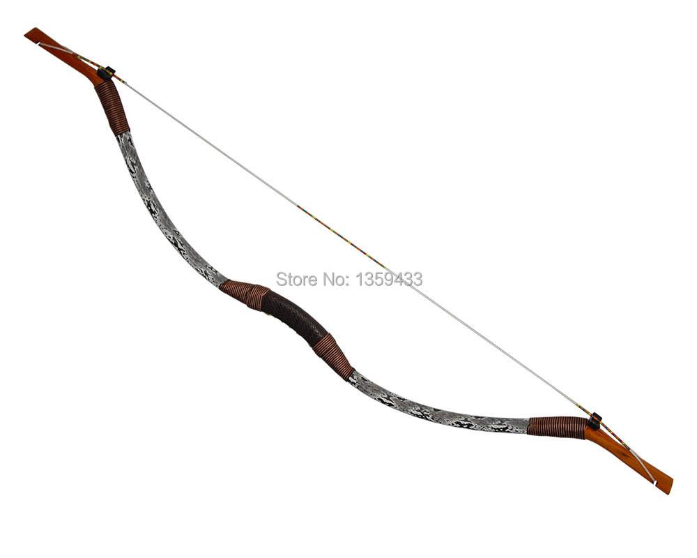 Здесь можно купить  Recurve bow 40lbs outdoor hunting and shooting archery snakeskin leather handcraft DIY longbow traditional China mongolia bow  Спорт и развлечения