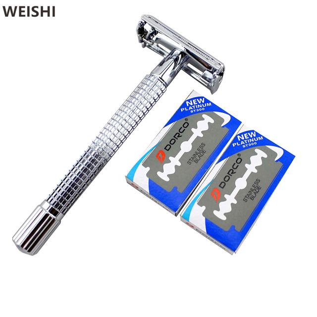 WEISHI 9306FL 11.2 см Длинной Ручкой Chrome посеребренные Double Edge Безопасности Для Бритья-Бритва