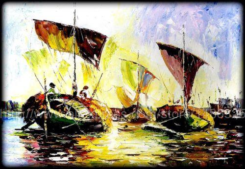 Indian Seascape Palette Knife Oil Painting Large Indian Painting Bangladesh Unique Gift Decoration Pieces For Mother Gift(China (Mainland))